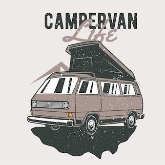 Vintage hand drawn campervan with grunge effect and star burst background