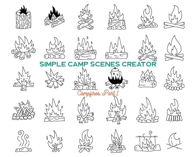 ヴィンテージ手描きキャンプファイヤーアイコンバンドル。シンプルな焚き火の線画グラフィック。冒険のシンボル。株式ベクトルは、旅行の要素とシンボルを分離しました。