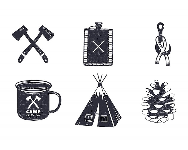 Vintage hand drawn camping adventure icons and shapes. retro monochrome design.