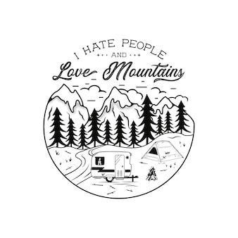 Vintage hand drawn camping emblem
