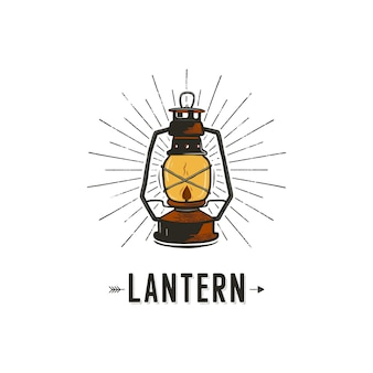 Vintage hand-drawn camping lantern