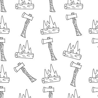빈티지 손으로 그린 캠핑은 복고풍 캠프 파이어, 축 요소와 함께 매끄러운 패턴입니다. 모험 실루엣 라인 아트 그래픽입니다. 스톡 벡터 하이킹 선형 배경입니다.