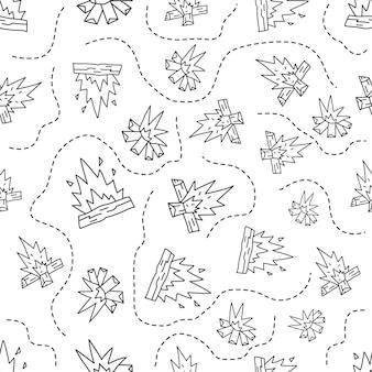 레트로 캠프 화재 요소와 빈티지 손으로 그린 캠핑 완벽 한 패턴입니다. 모험 실루엣 라인 아트 그래픽입니다. 스톡 벡터 여행 선형 배경입니다.