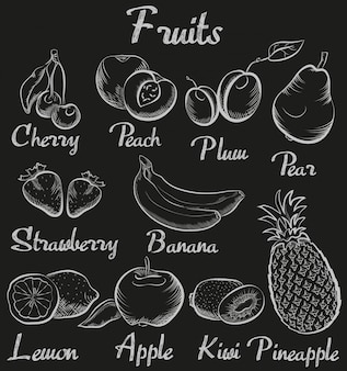 Vintage hand-drawn chalk blackboard fruits