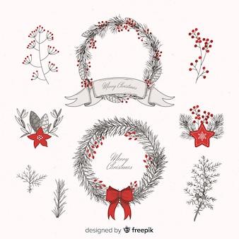 Vintage hand drawn christmas wreath set