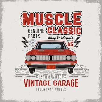 Vintage hand drawn classic muscle car