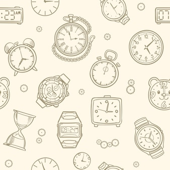 Vintage hand drawn clocks and watches. time vector seamless pattern. illustration of clock drawing, time seamless pattern