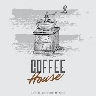 ビンテージ手描きコーヒーグラインダーロゴ。コーヒーミル彫刻イラスト。