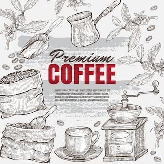 ビンテージ手描きコーヒーイラスト。隔離されたアートワークオブジェクト。どのレストランやカフェメニューの印刷媒体にも適しています。