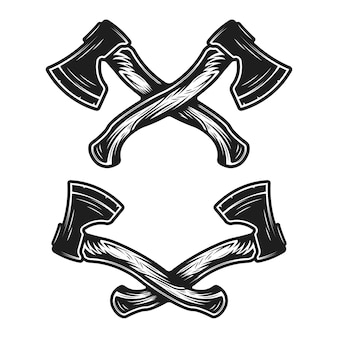 Vintage hand drawn crossed axes