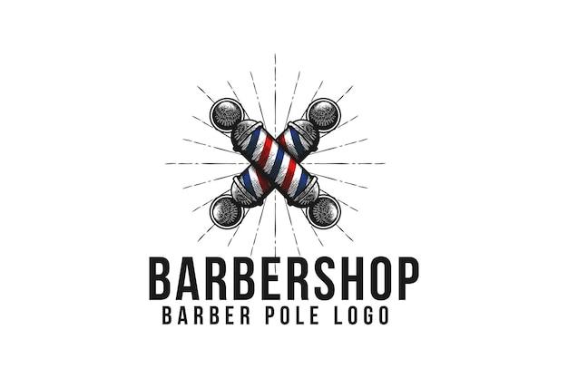 ヴィンテージ手描きの交差した理髪店の看板ポールのロゴデザインのインスピレーション