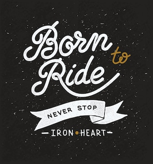 Vintage hand drawn design on the theme of races and bikers