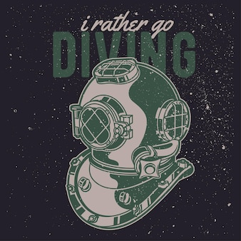 Vintage hand drawn diving with grunge effect and star burst background