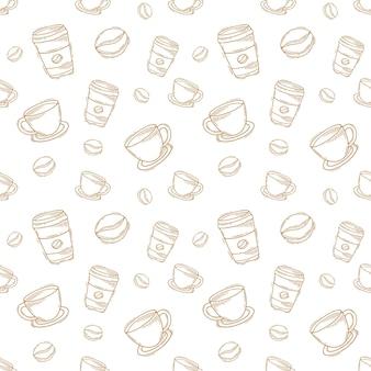 Винтаж рисованной каракули кофейная чашка