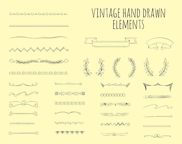 빈티지 손으로 그린 요소. 그래픽 복고풍 장식, 그림