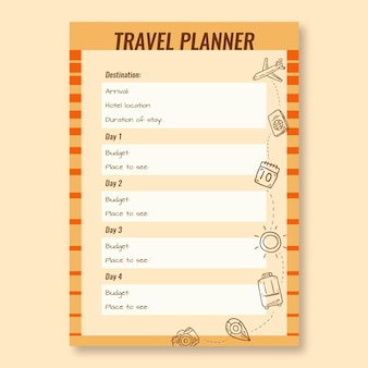 Vintage hand drawn explore the world travel planner template