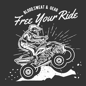 Vintage hand drawn extreme atv with grunge effect and star burst background