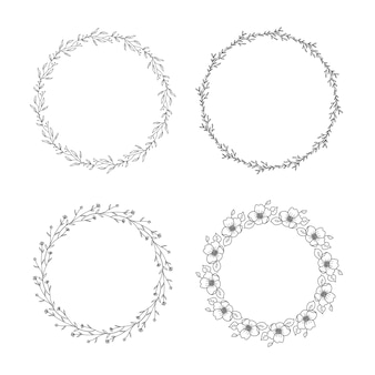 Vintage hand drawn floral wreath set
