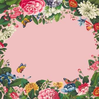 ヴィンテージ手描き花フレームベクトル