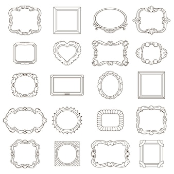 Vintage hand drawn frames for greetings and invitations. element ornament, doodle vector illustration