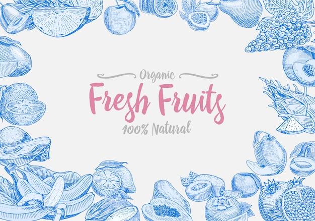 ヴィンテージ、手描きの新鮮な果物の背景、夏の植物、ベジタリアン、有機柑橘類などが刻まれています。パイナップル、レモン、パパイヤ、ピタヤ、マラクーヤ、バナナ。