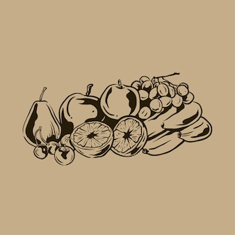 Vintage hand drawn fruit collection