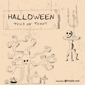 Vintage hand drawn halloween elements template