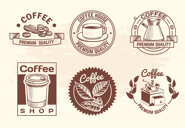 Vintage hand drawn hot drinks coffee logo set with mug and beans