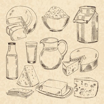 요구르트, 치즈 및 기타 신선한 우유 제품의 빈티지 손으로 그린 그림