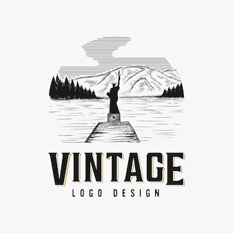 Vintage hand drawn lake logo design inspiration