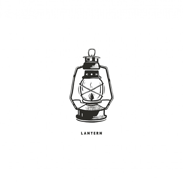 Vintage hand drawn lantern concept. perfect for logo design, badge, camping labels. monochrome. symbol for outdoor activity emblems. stock illustration isolated on white background.