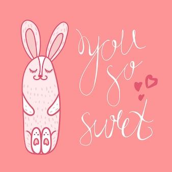 Винтажная рисованная надпись на гитаре с фразой you so sweet с кроликом