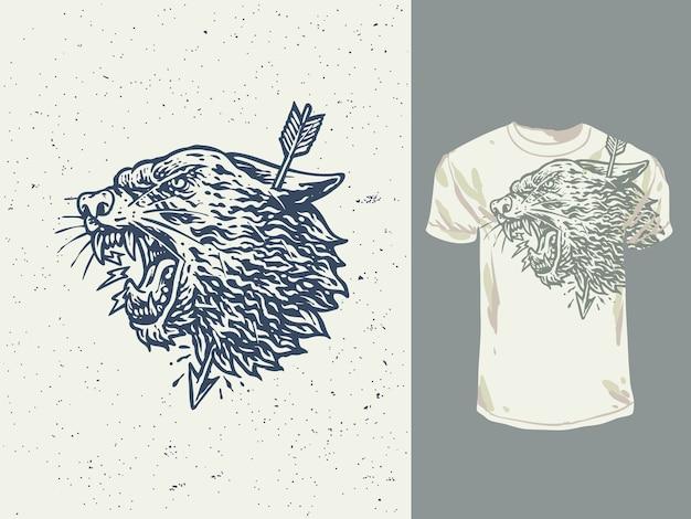 빈티지 손으로 그린 외로운 늑대 그림