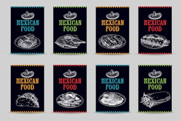 빈티지 손으로 그린 멕시코 음식 스케치 그림 설정합니다.