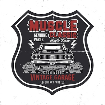 Vintage hand drawn muscle car