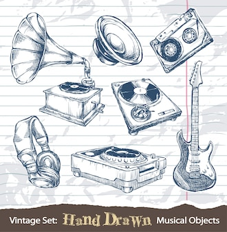 Vintage hand drawn musical objects