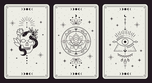 Vintage hand drawn mystic tarot magical symbols