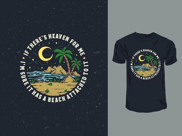 Винтаж рисованной ночной пляж иллюстрации