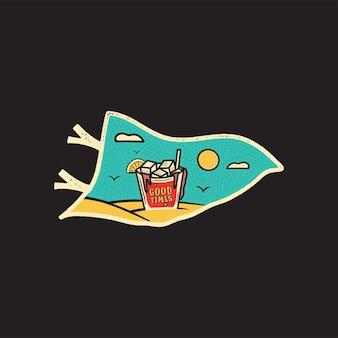Винтажные рисованной вымпел отпуск и концепция путешествий для печати. футболка, постеры. пляж с пальмами, питьем и солнцем. ретро летний флаг с логотипом, необычный значок. фондовый вектор.
