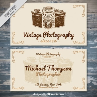 Vintage hand drawn photo studio card
