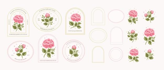 Vintage hand drawn pink rose floral logo element collection
