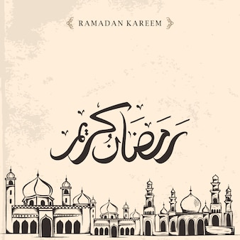 Vintage hand drawn ramadan kareem with mosque sketch drawing