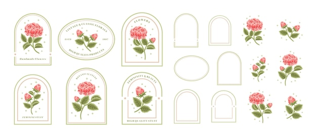 Vintage hand drawn red rose floral logo element collection