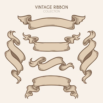 Vintage hand drawn ribbon collection