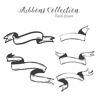 Vintage hand drawn ribbons collection in black and white