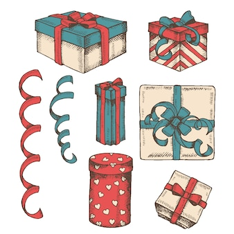 Vintage hand drawn set of different colorful gifts box, packages and serpentine isolated on white. sketch. engraving. christmas, new year, happy birthday, st. valentine's day