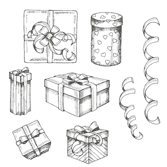 Vintage hand drawn set of doodle gifts box and packages isolated on white