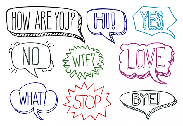 Vintage hand drawn speech bubbles with dialog words collection