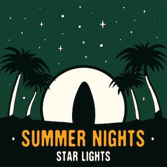 Винтажные рисованной серфинг и концепция путешествий для печати. футболка. пляж с пальмами и луной. ретро летний фон, необычный плакат. летние ночи звезды зажигают тексты футболок. фондовый вектор.