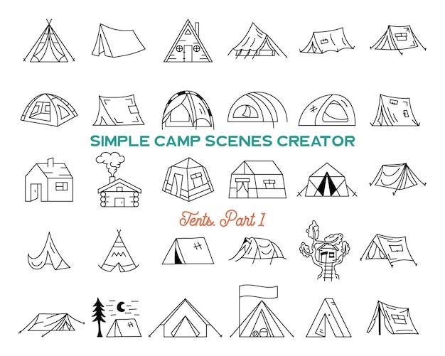 ヴィンテージ手描きテントアイコンバンドル。シンプルな線画グラフィック。キャンプ場のシンボル。株式ベクトルは、冒険の要素とシンボルを分離しました。